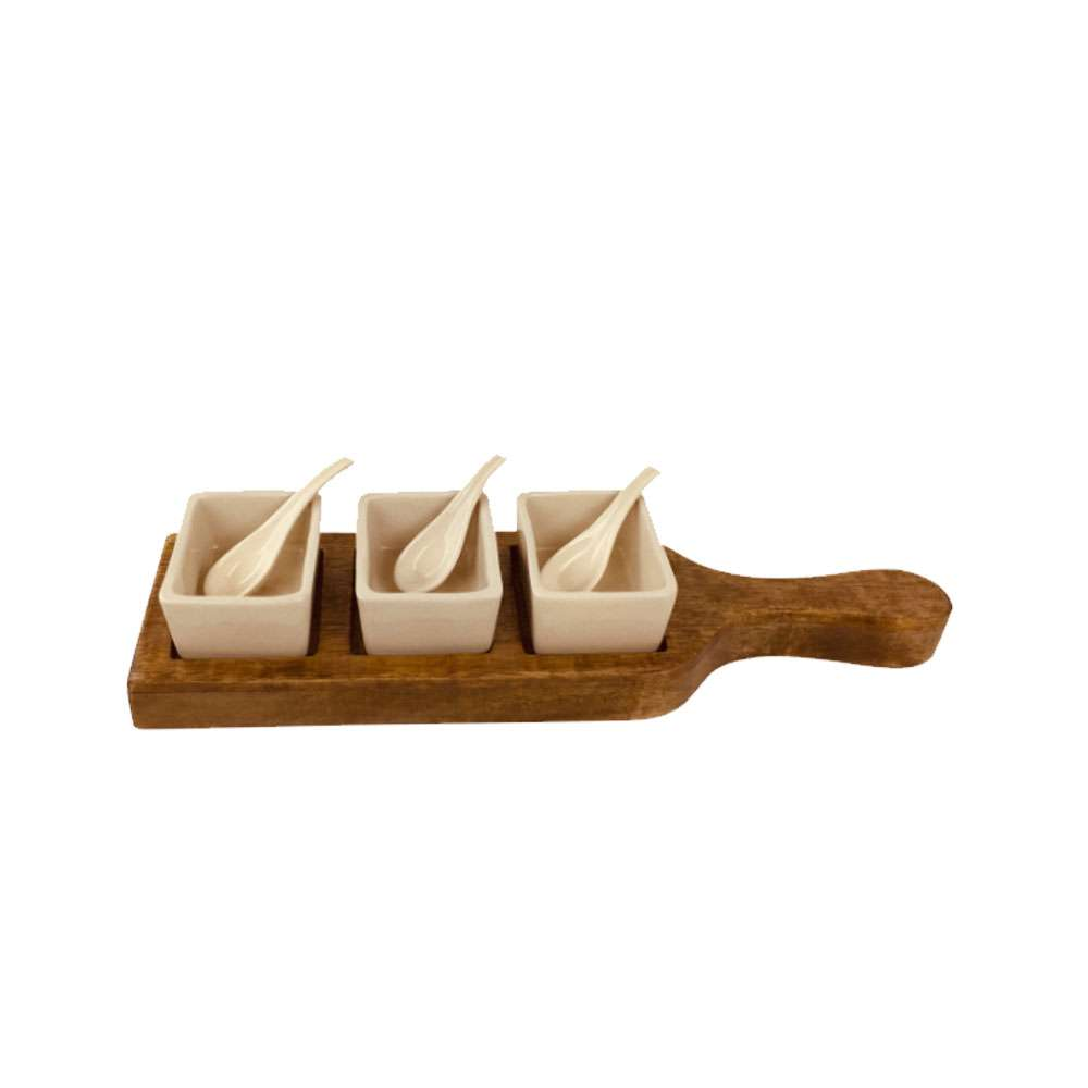 Wooden Tray With Dip Bowls & Spoons 36cm | UK Seller