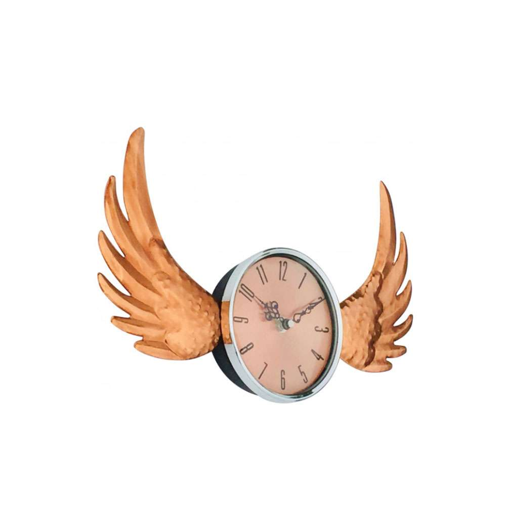 Luxury Copper Winged Wall Clock with Glass Cover 39cm Home Living Room UK SELLER