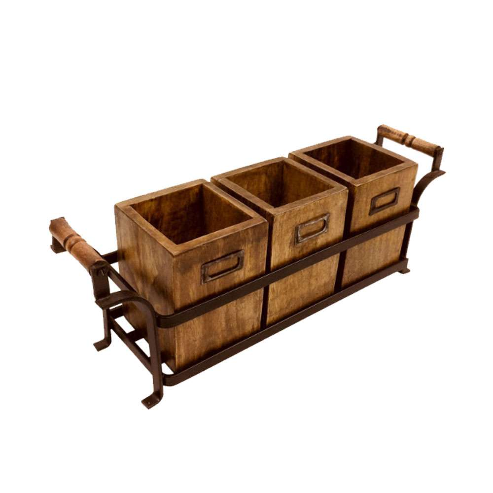 Metal Stand with 3 Wooden Boxes | UK STOCK
