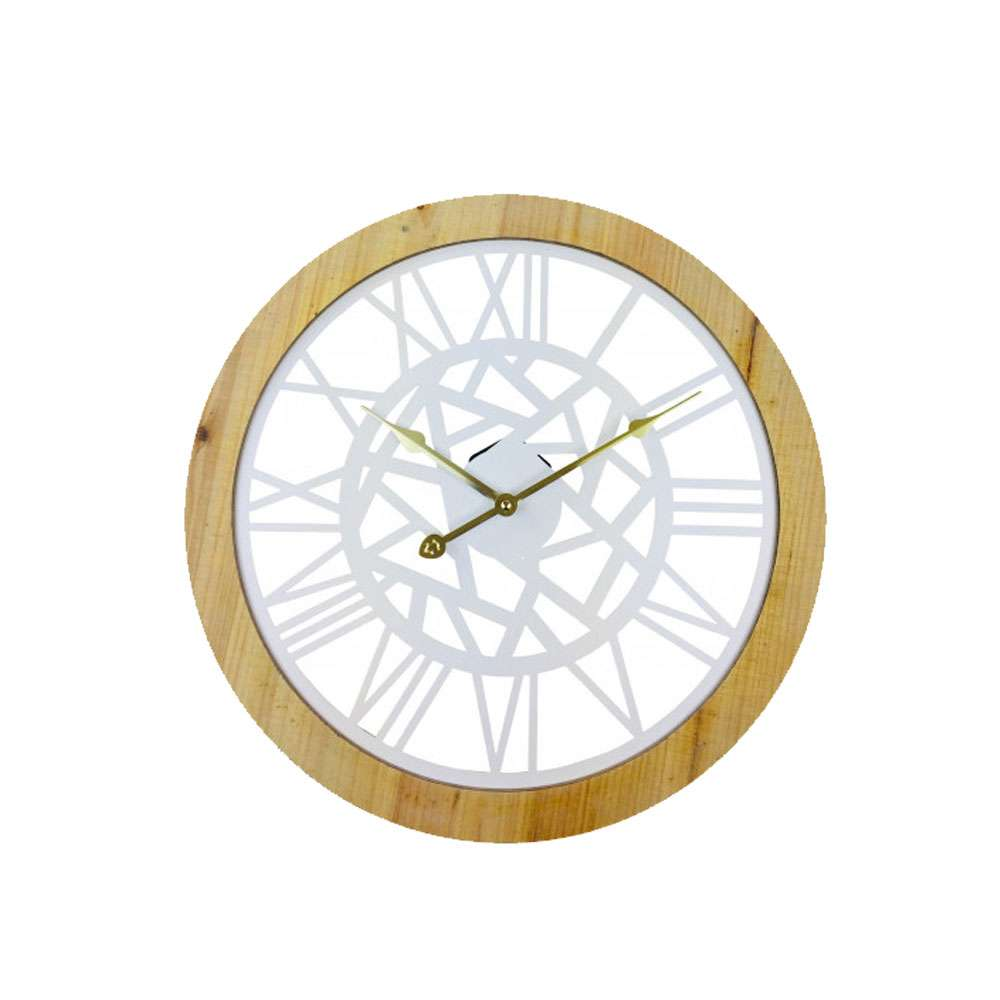 Roman Numeral White Metal Cut Out Wall Clock 45cm | UK Seller