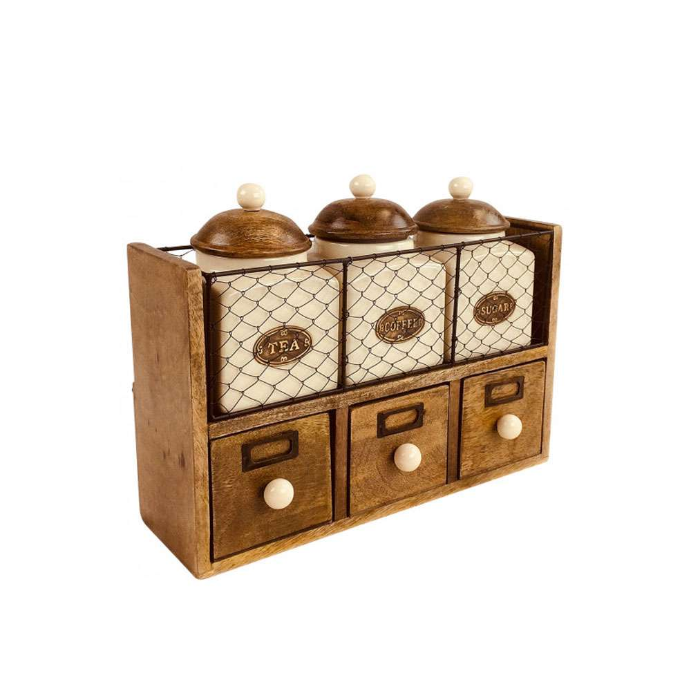 Wooden Cabinet With 3 Jars & Drawers | UK STOCK