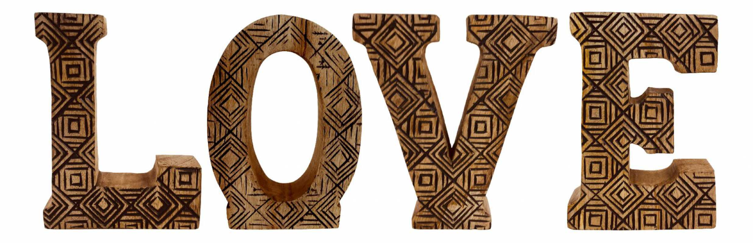 Hand Carved Wooden Geometric Letters Love